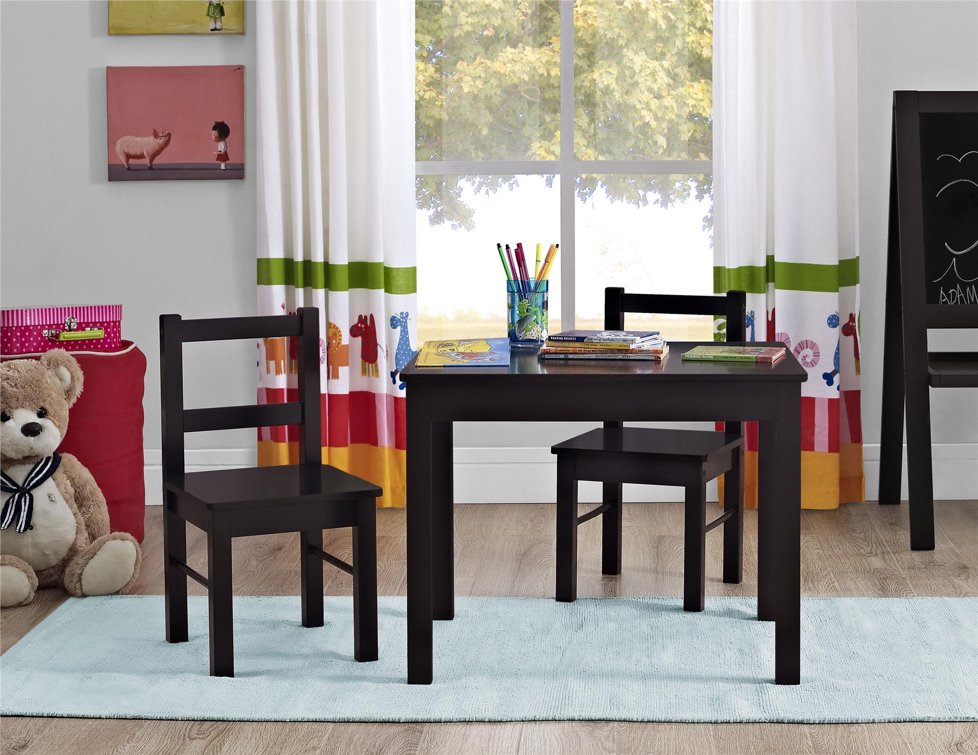 ameriwood home hazel kids table and chairs 3 piece set espresso