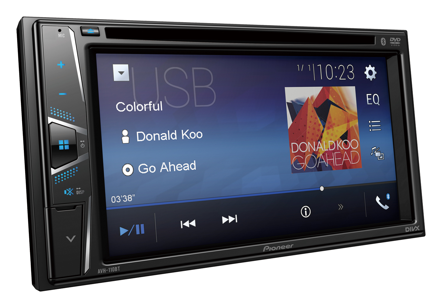 hight resolution of pioneer avh 110bt dvd 6 2 screen double din dvd bluetooth receiver