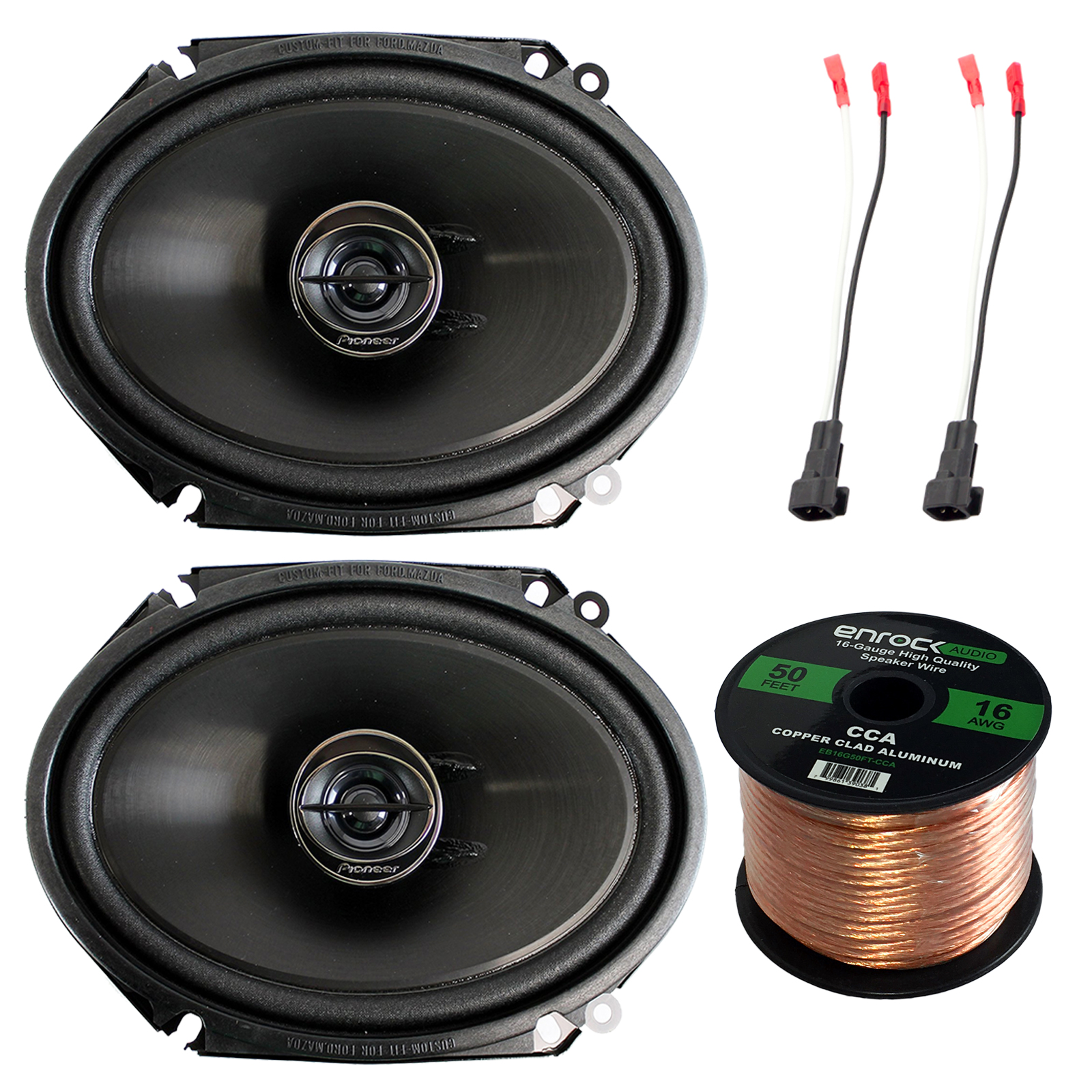 hight resolution of pioneer ts g6845r 250 watt 6 x 8 2 way coaxial car audio speakers pair efdsh98up speaker harness adapter w red bullet for select ford vehicles 1998 up
