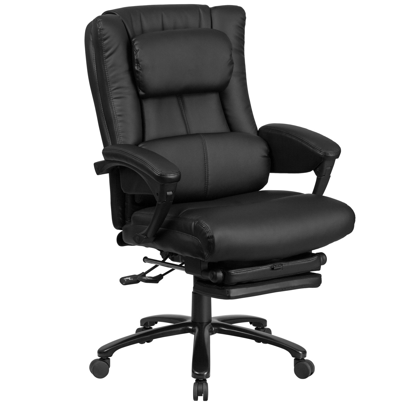 black leather office chair high back ikea spinning flash furniture executive reclining swivel with lumbar support comfort coil seat springs and padded armrests
