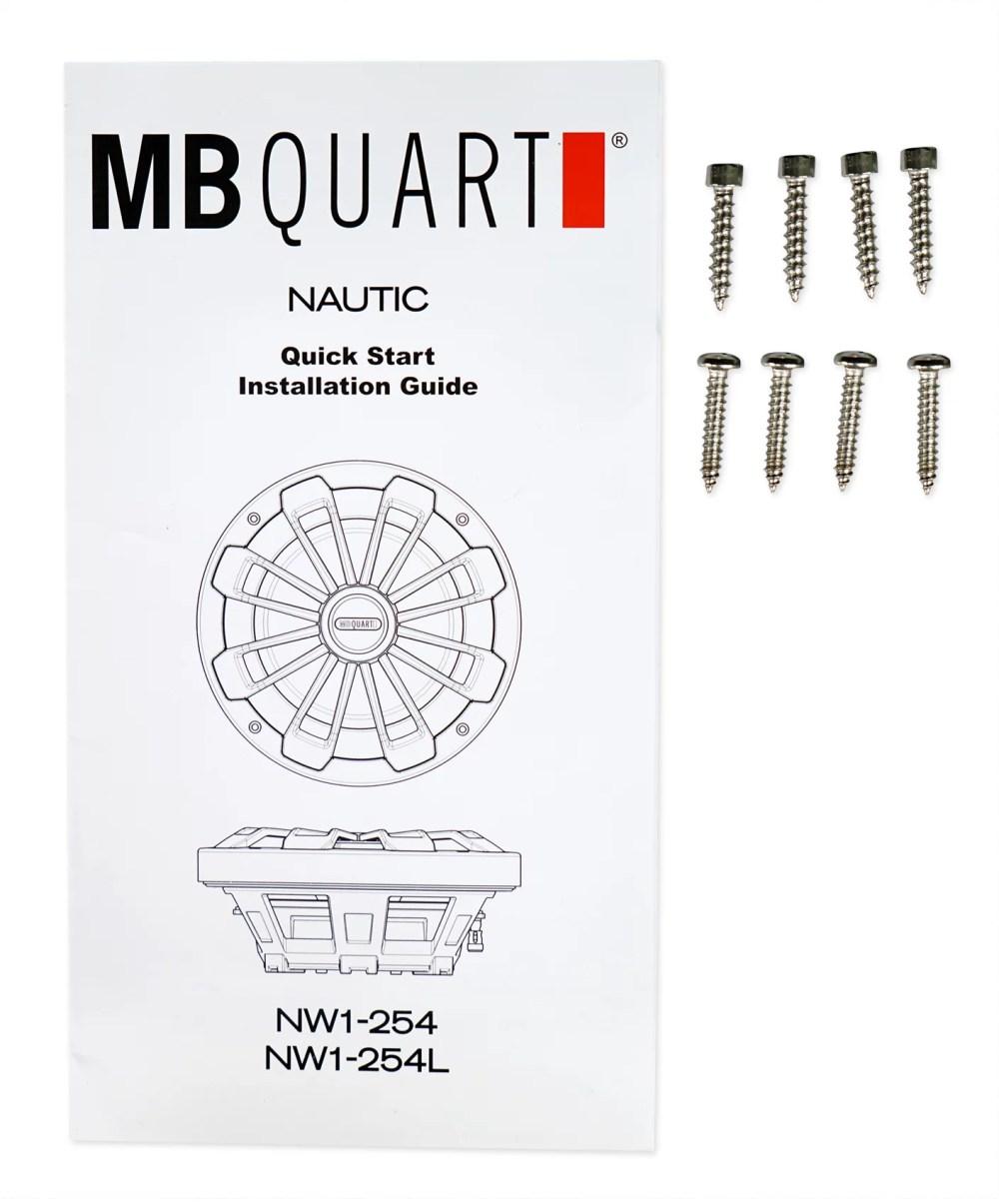 medium resolution of mb quart nw1 254l 10 600w slim marine subwoofer w led s mono amplifier wires walmart com