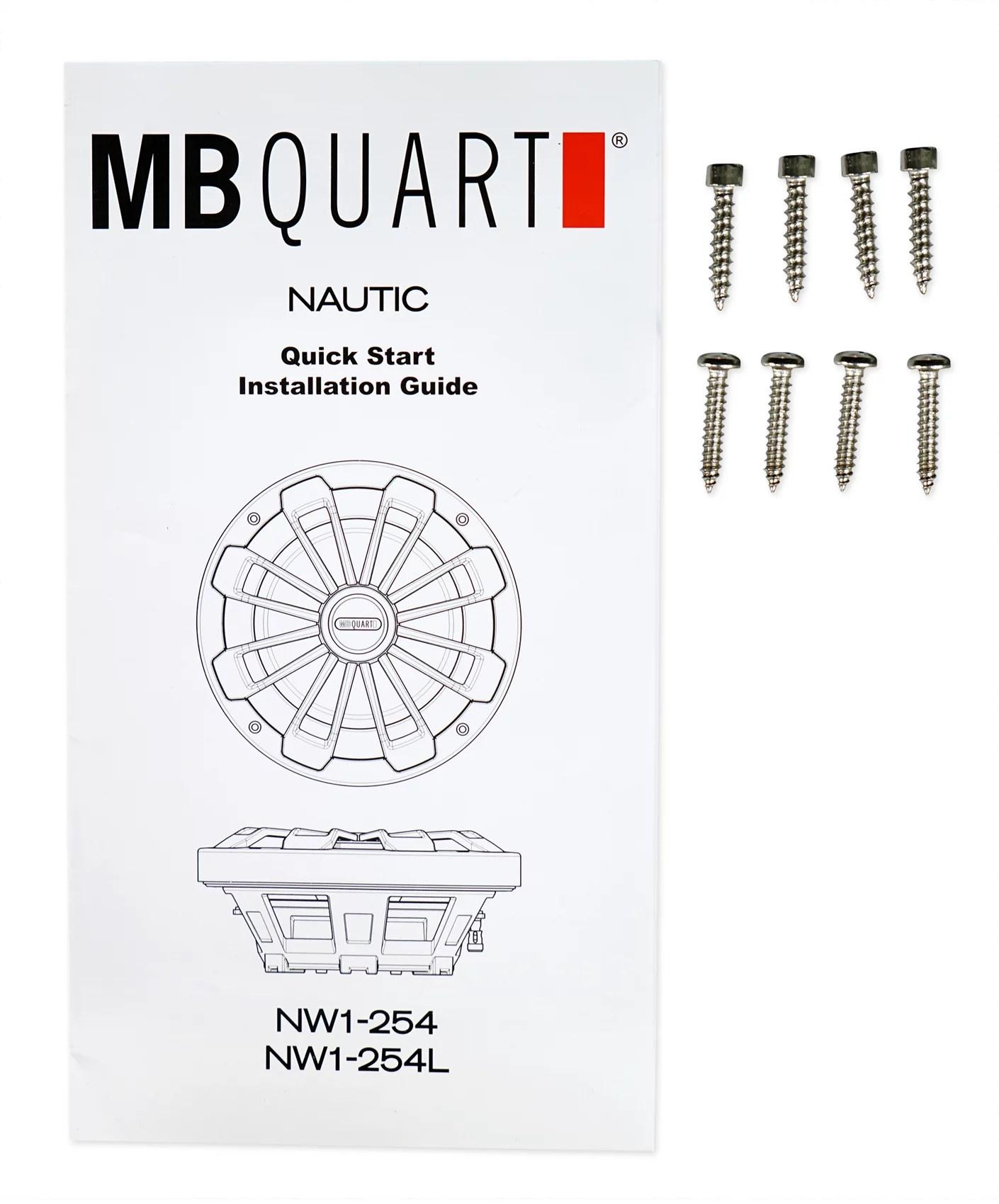 hight resolution of mb quart nw1 254l 10 600w slim marine subwoofer w led s mono amplifier wires walmart com