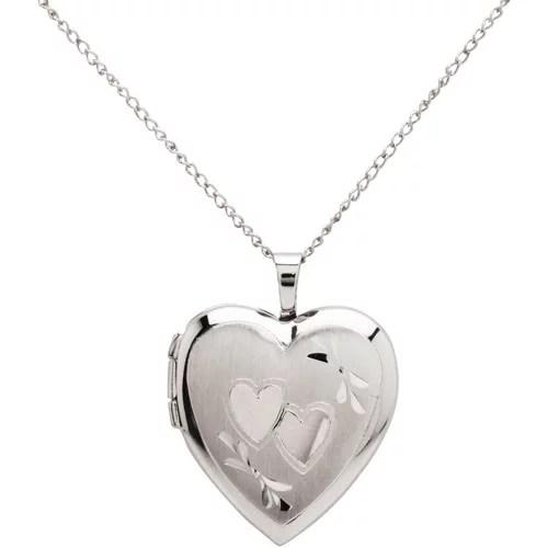 Double Heart Engraved Sterling Silver Heart Locket Pendant