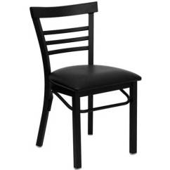 Steel Vinyl Chair Dining Room Covers At Walmart Flash Furniture Ladder Back Chairs Set Of 2 Black Metal Seat Com