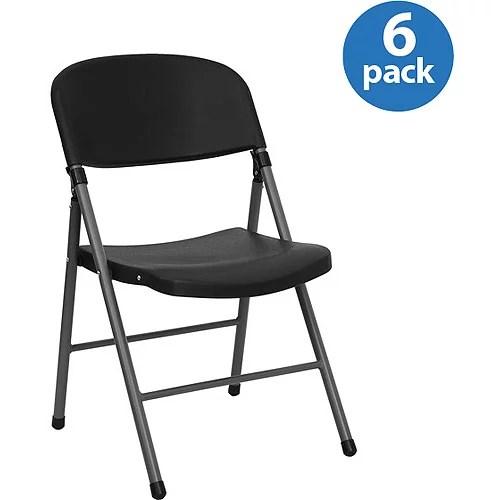 Black Plastic Folding Chair Set of 6  Walmartcom
