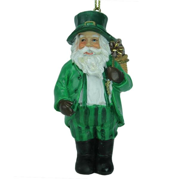 """3.5"""" Luck Of Irish Santa Claus In Striped Green Suit"""