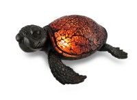 Amber Crackled Glass Mosaic Sea Turtle Accent Lamp ...