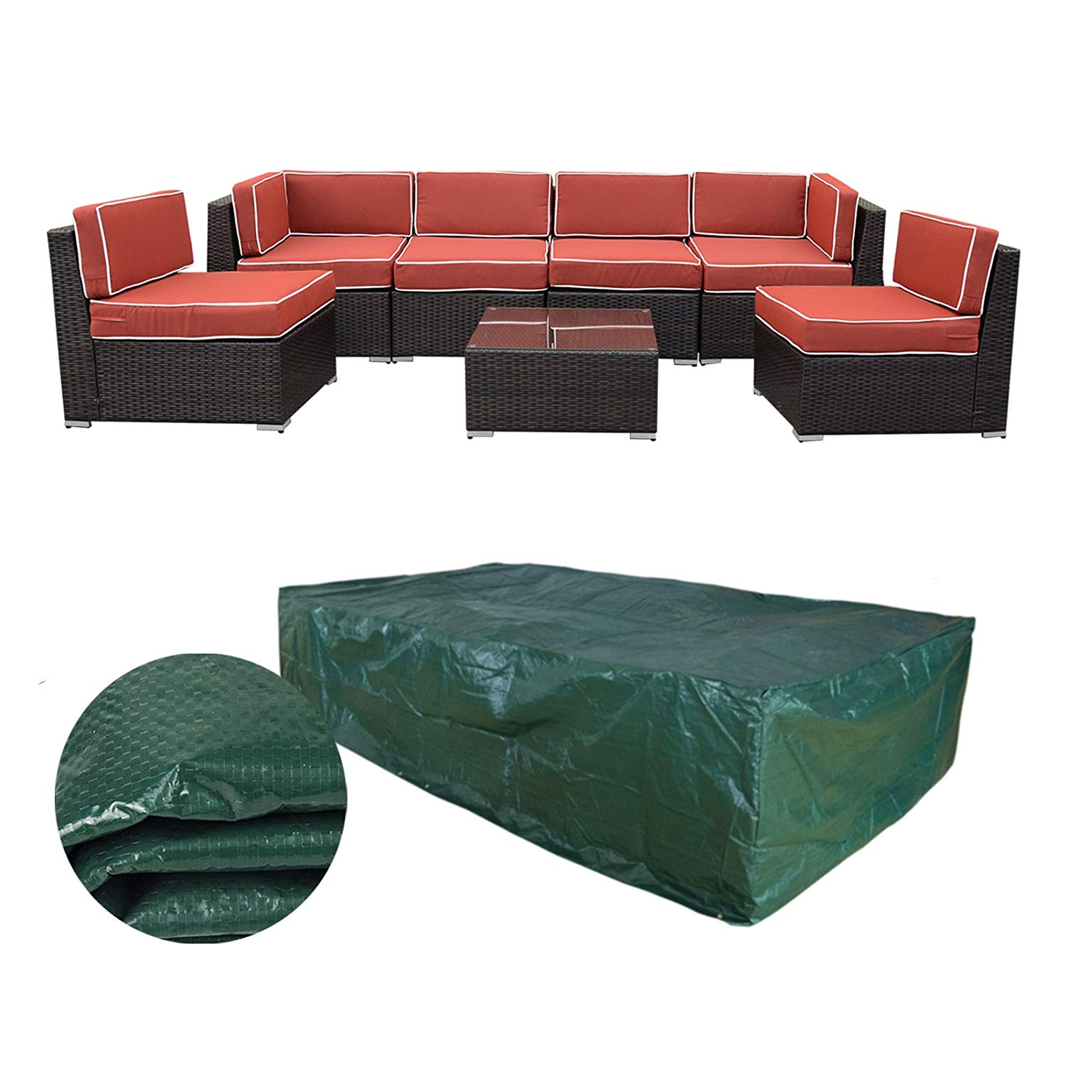 orno ttobe 126 x63 x28 inch extra large patio furniture cover for 7pieces rattan wicker furniture sofa set waterproof
