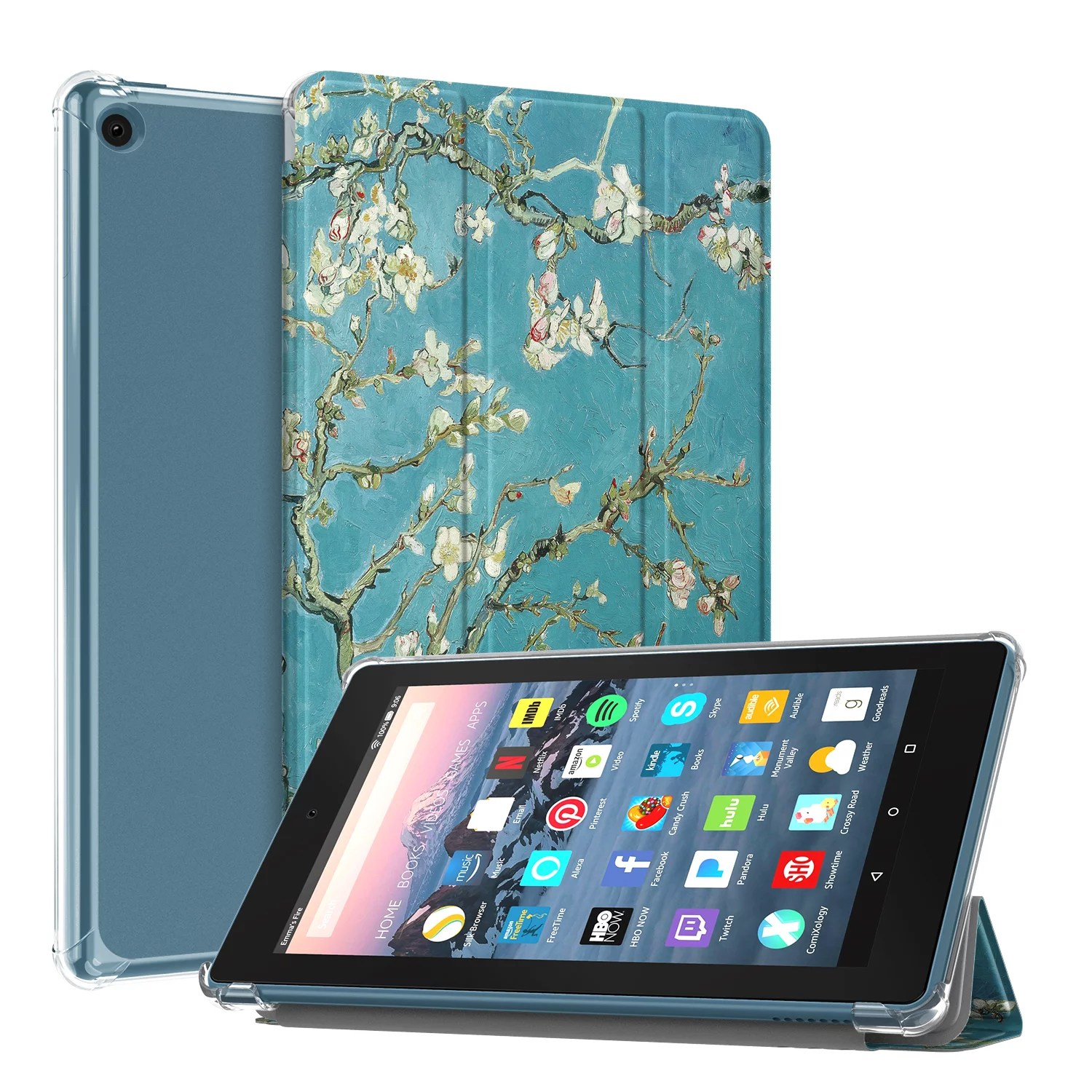 Fintie Slim Case for All-New Amazon Fire 7 Tablet (9th Generation. 2019 Release).Translucent Frosted Back Cover. Blossom - Walmart.com