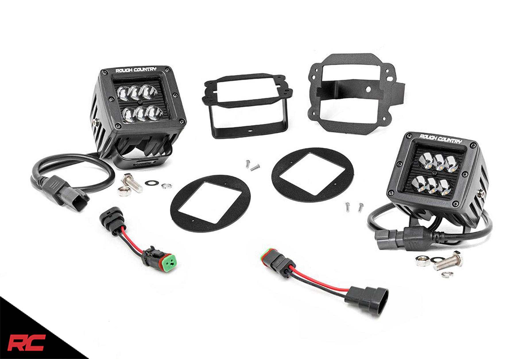 Rough Country Dual Led Cube Fog Light Kit Compatible W