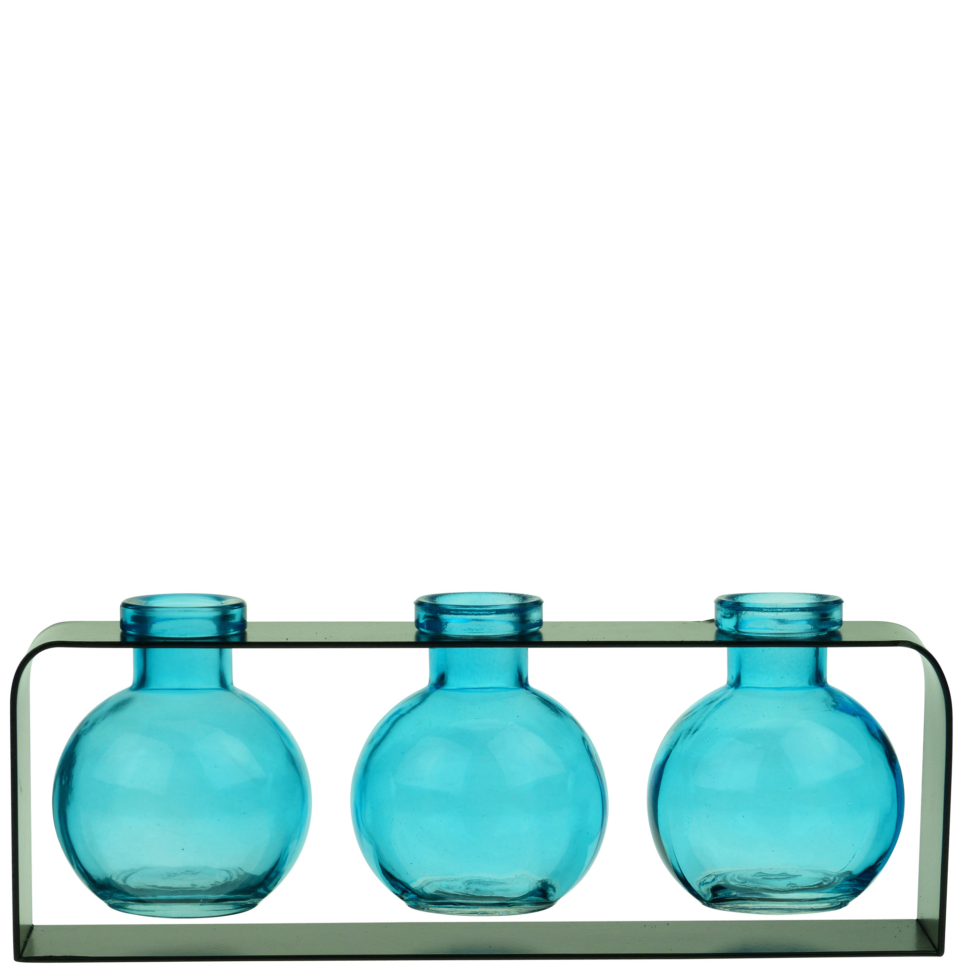 Couronne Co Trivo Three Recycled Glass Vases and Metal Stand. M507-200-00-P. 10 inches long. Clear - Walmart.com