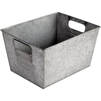Better Homes and Gardens Small Galvanized Bin, Silver ...