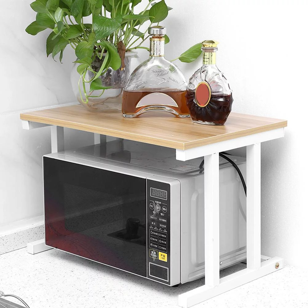 walfront wood microwave oven stand rack 2 layers storage racks kitchen cabinet counter shelf counter shelf organizer microwave oven rack