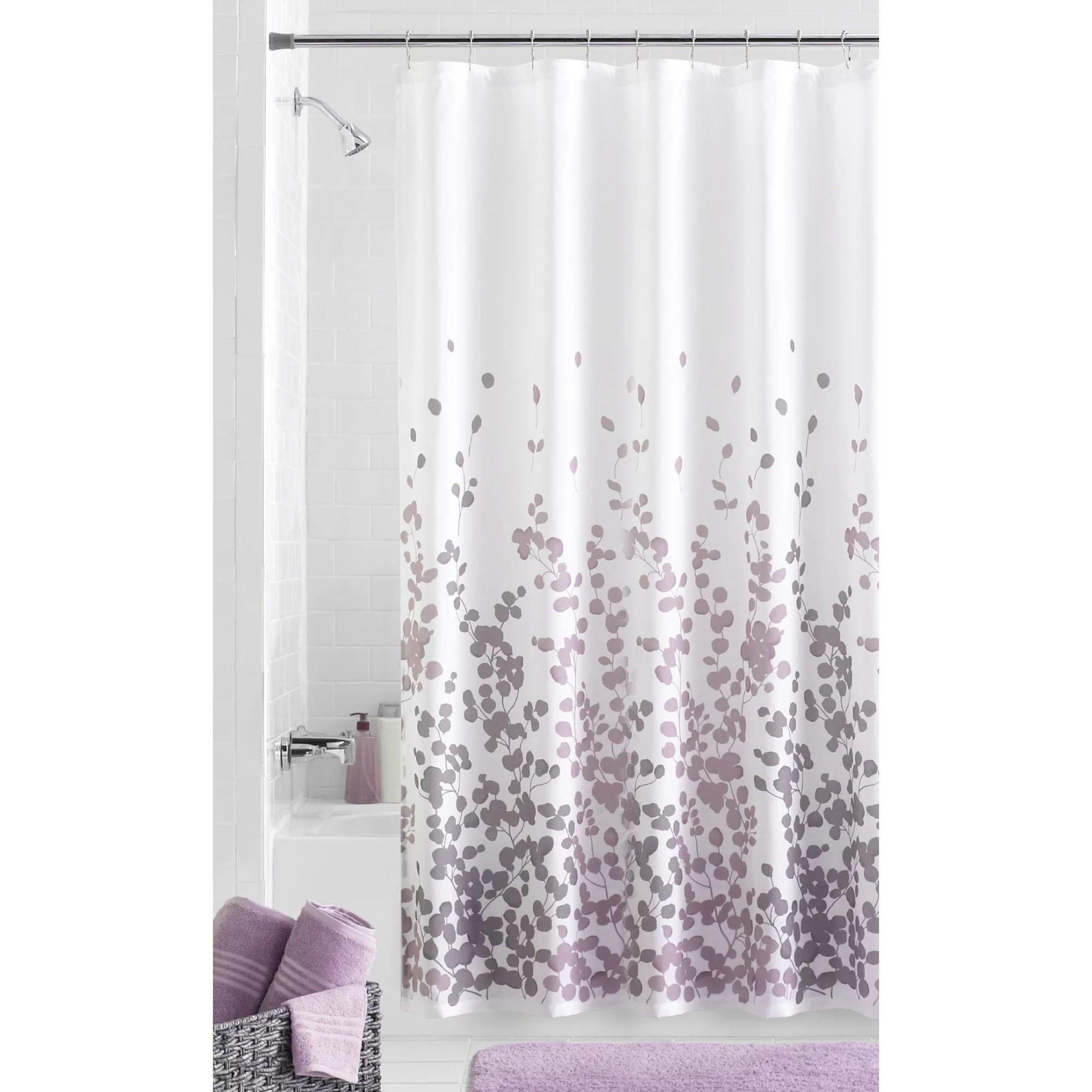 mainstays sylvia faux silk purple grey and white fabric shower curtain 70 x 72 walmart com