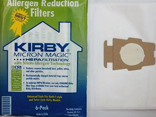 Kirby Part 204811 – Genuine Style F HEPA Filtration Vacuum Bags for all Sentria Models (6 Bags and 2 Belts)