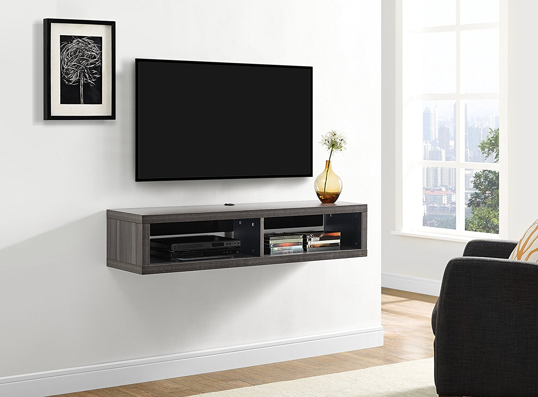 Martin Furniture 48 In Shallow Wall Mounted Tv Shelf Walmart Com Walmart Com