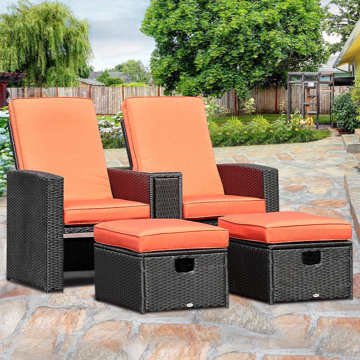 recliner patio chair leopard print office cover gymax 3pcs furniture reclining set adjustable backrest rattan ottoman walmart com