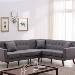 Tufted Linen Sectional Sofa Sofas Craigslist Us Pride Furniture Mid Century Right Facing Fabric Upholstered L Shaped Walmart Com