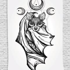 Bat Living Room Coastal Furniture Occult Decor Tapestry Nocturnal With Crescent Moon Spiritual Night Animal Creature Graphic