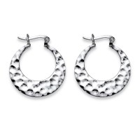 Palm Beach Jewelry - Hammered Flat Hoop Earrings in ...