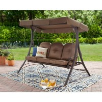 Mainstays Wentworth 3-Person Cushioned Canopy Porch Swing ...