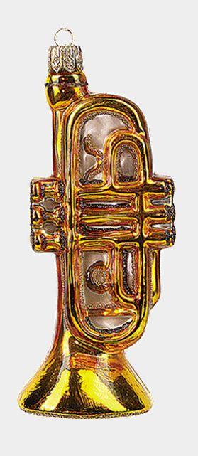 Trumpet Polish Blown Glass Christmas Ornament Musical