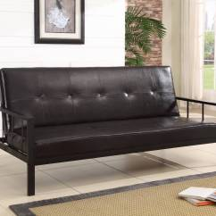 Black Vinyl Futon Sofa Cama Abatible Horizontal Heavy Duty Futons  Home Decor