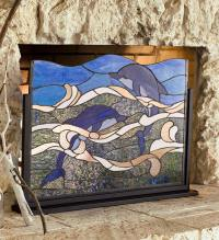 Stained Glass Dolphin Fireplace Screen - Walmart.com