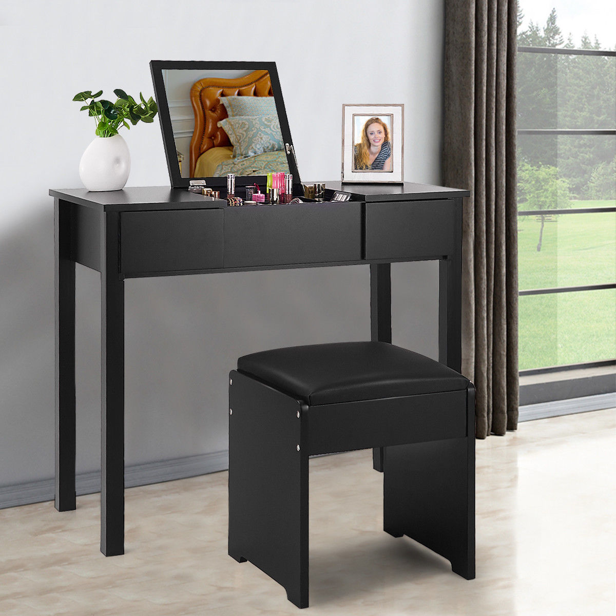 costway black vanity dressing table set mirrored w stool storage box