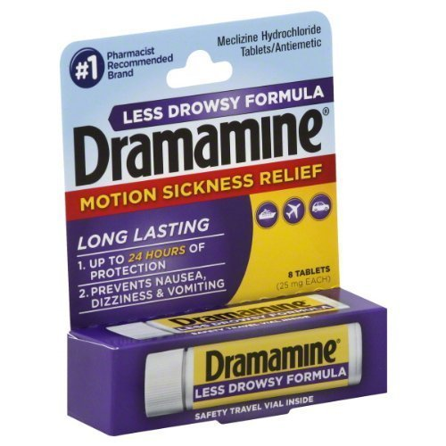 2 Pack of Dramamine Less Drowsy Formula 25mg Tablets-8 ...