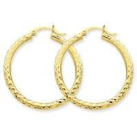 14kt Yellow Gold Diamond-Cut 3mm Round Hoop Earrings ...