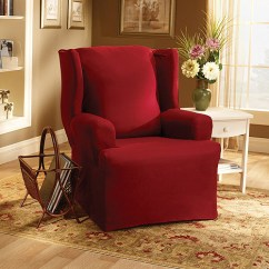Sure Fit Wing Chair Slipcover Desk Dropping Cotton Duck Walmart Com