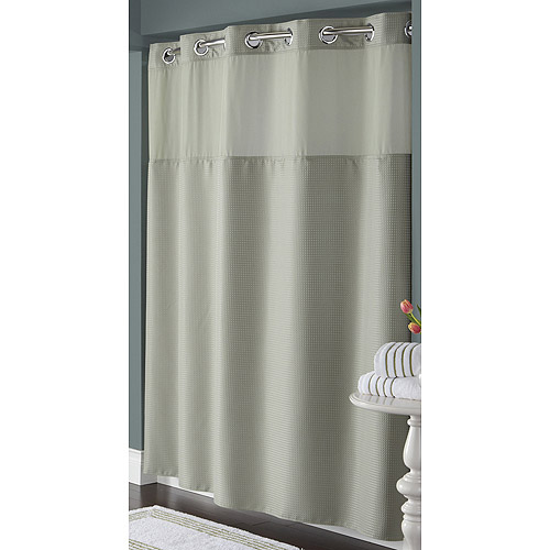 Hookless sage green diamond pique mystery polyester shower curtain