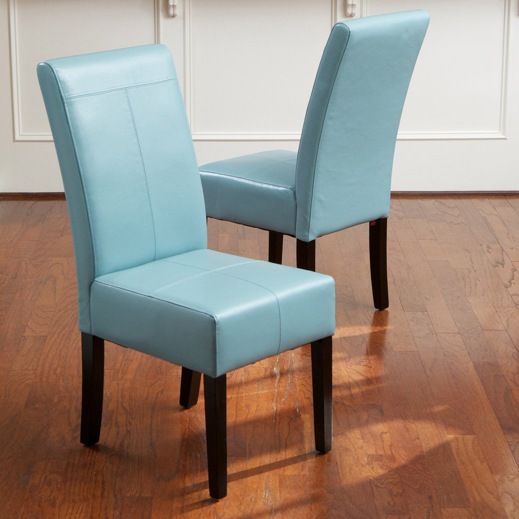 Meeker Teal Blue Leather Dining Chairs Set of 2