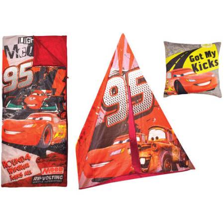 Disney Cars Teepee Play Tent and Slumber Bag with Bonus Pillow