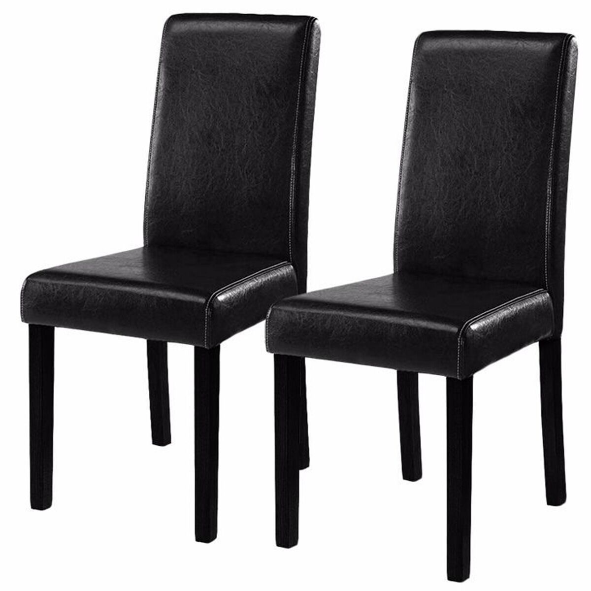 Black Leather Dining Chairs Costway Set Of 2 Black Elegant Design Leather Contemporary Dining Chairs Home Room