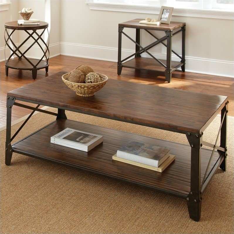 winston cocktail table in distressed tobacco brown walmart com
