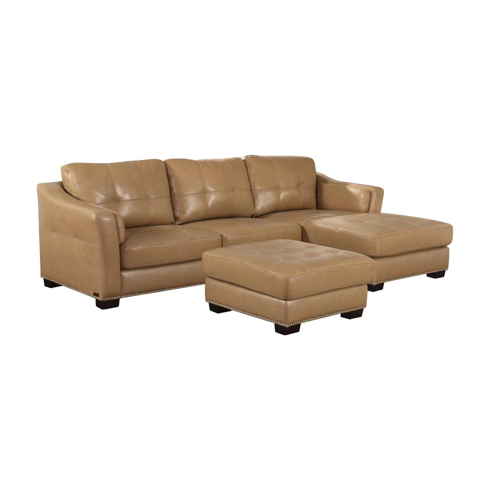 abbyson aspen 2 piece leather sectional walmart com