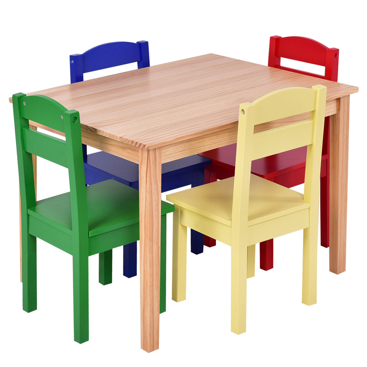 Kids Wood Table And Chairs Kids 5 Piece Table Chair Set Pine Wood Multicolor Children Play Room Furniture