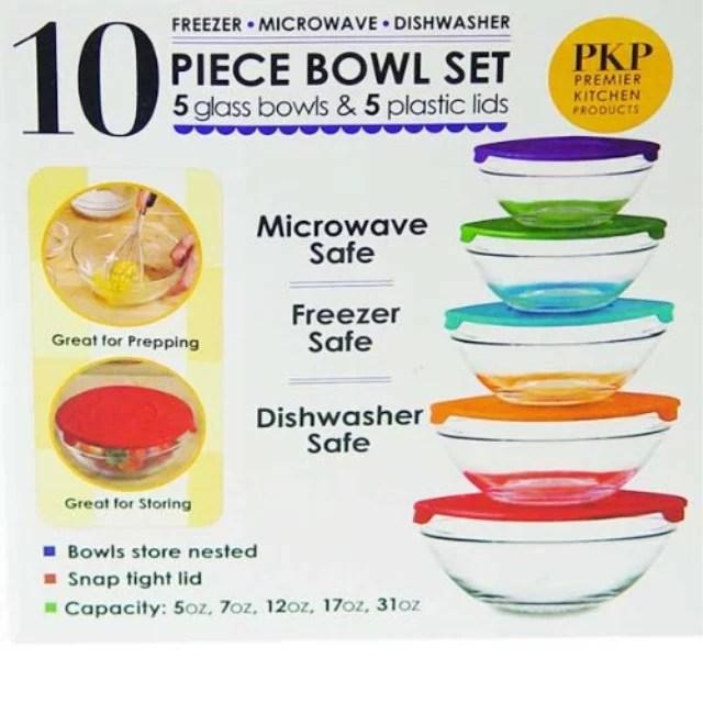 10 piece glass bowl set with lids microwave freezer and dishwasher safe walmart com