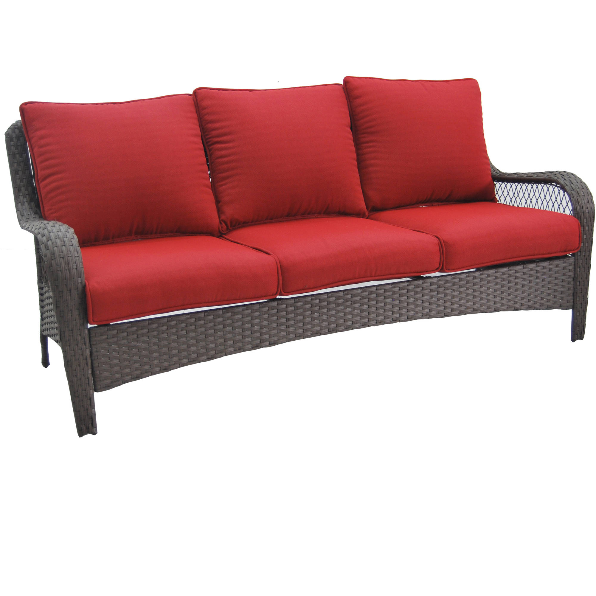 better homes and gardens colebrook outdoor sofa seats 3 red