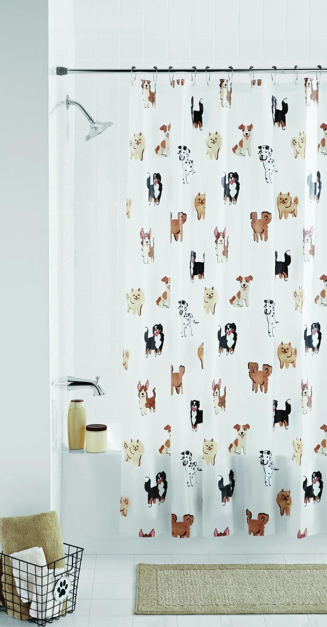 mainstays dogs peva shower curtain 1