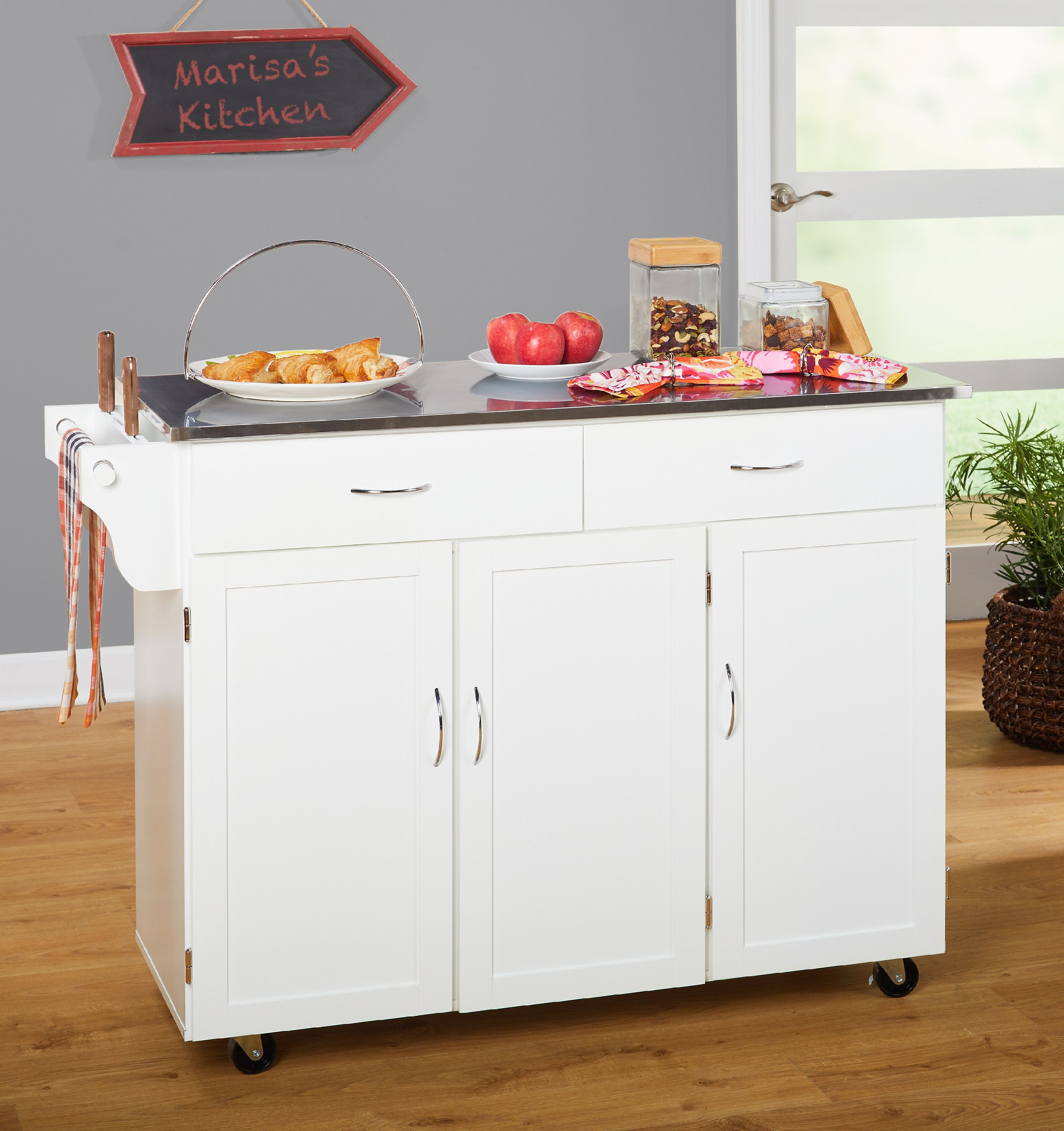 large kitchen cart design your own lowes extra white with stainless steel top box a walmart com