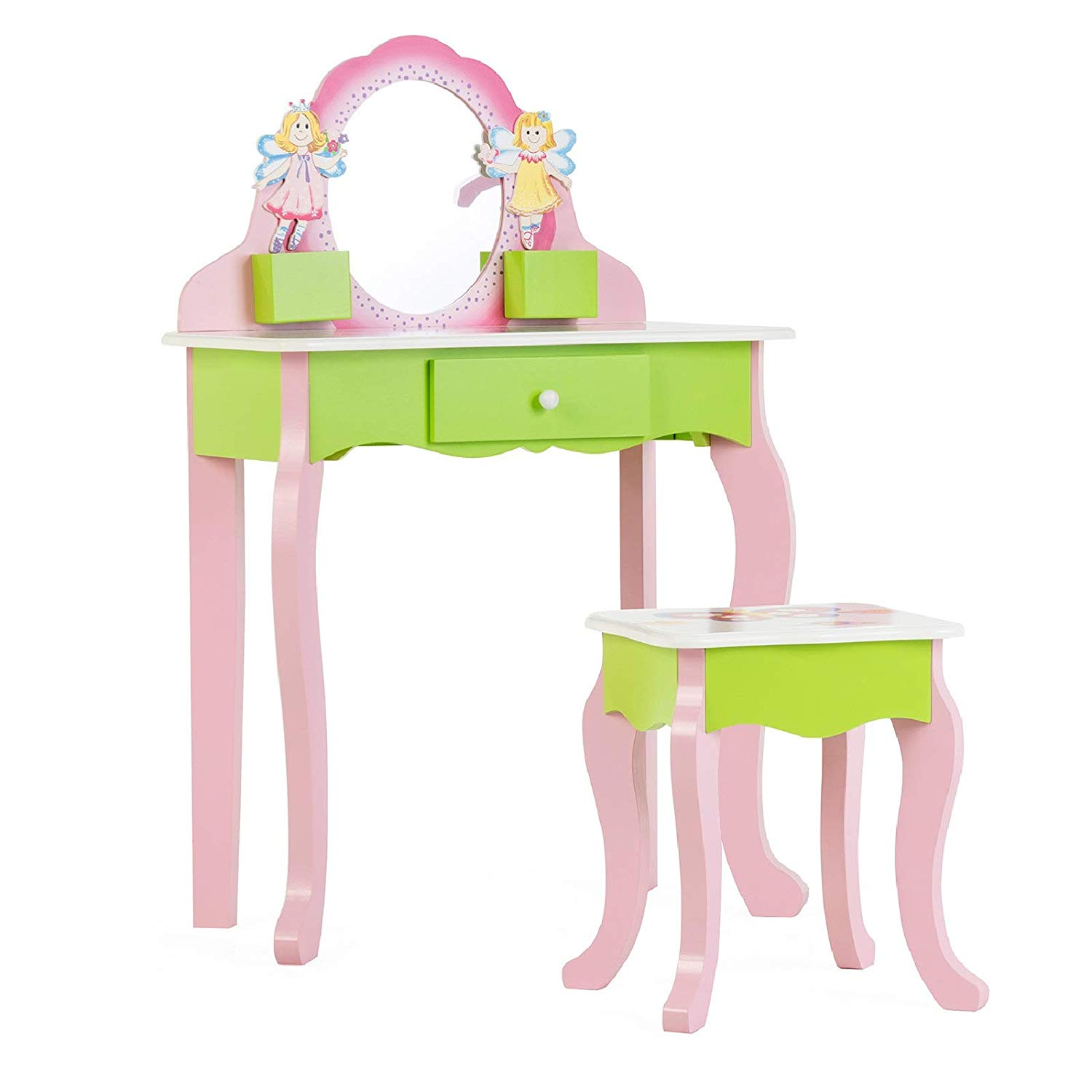 mecor kids vanity set little girls makeup table w flower mirror non toxic hand painted children vanity desk with stool pink green