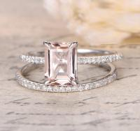 1.50 Carat Peach Pink Morganite (emerald cut Morganite ...