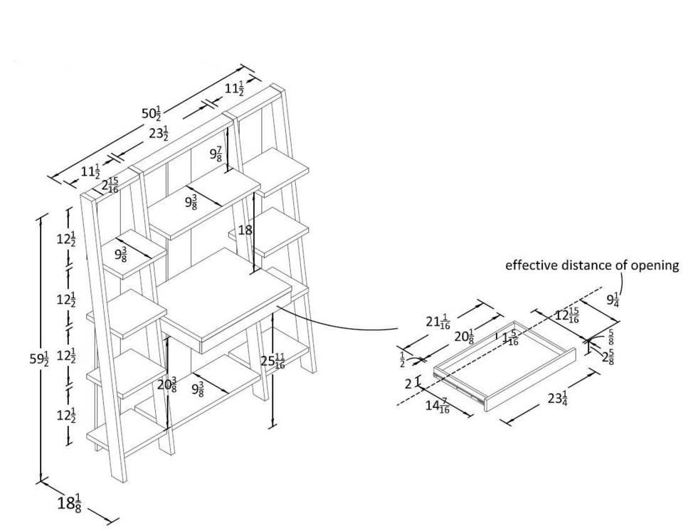 Altra Furniture Ladder Bookcase with Desk in Espresso