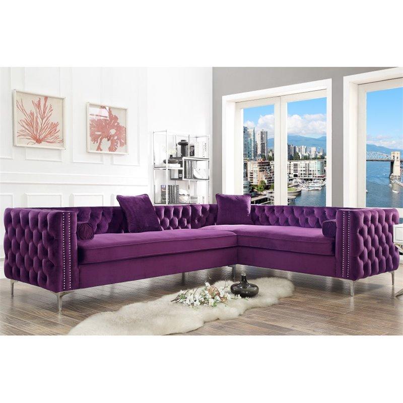 levi purple velvet corner sectional