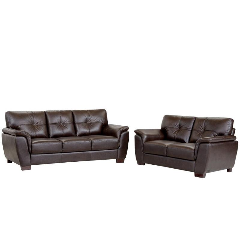 2 piece brown leather sofa futon walmart timston transitional and loveseat set in
