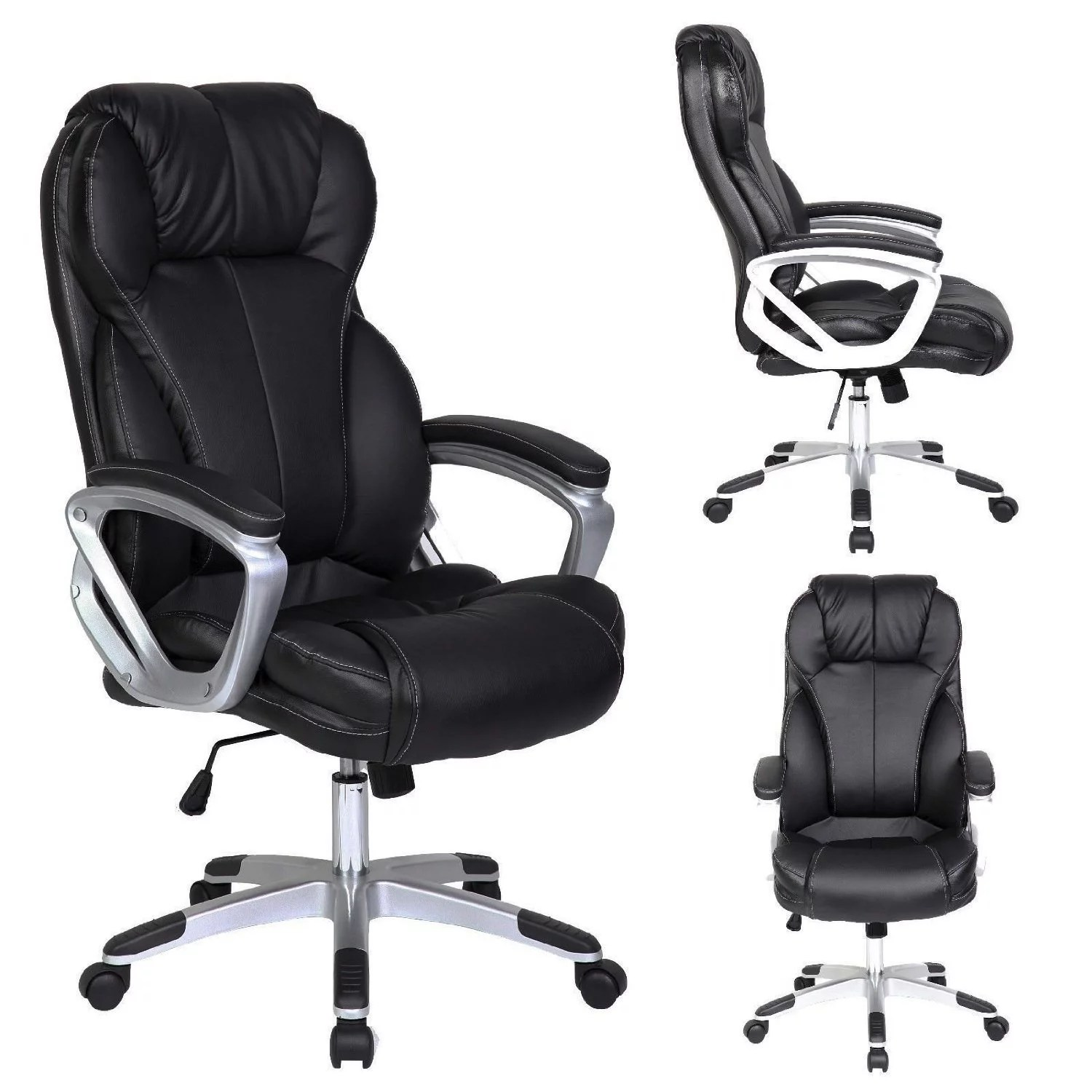 Tilt Back Chair 2xhome Black Deluxe Professional Pu Leather Big Tall Ergonomic Office High Back Chair Manager Task Conference Executive Swivel Tilt Padded Arms