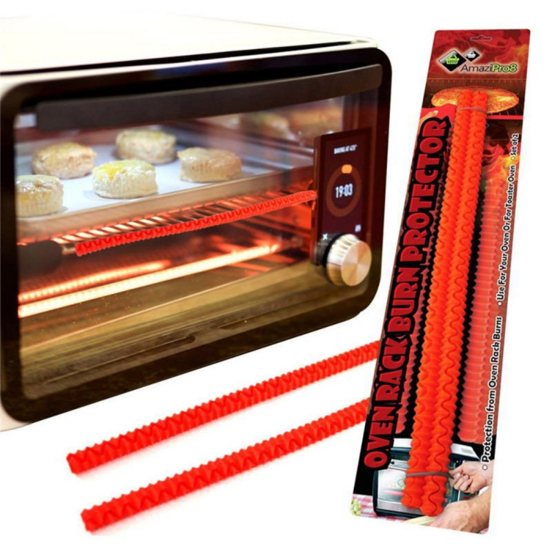 2pcs heat resistant silicone oven rack guard shelf edge burn protector protection kitchen tools